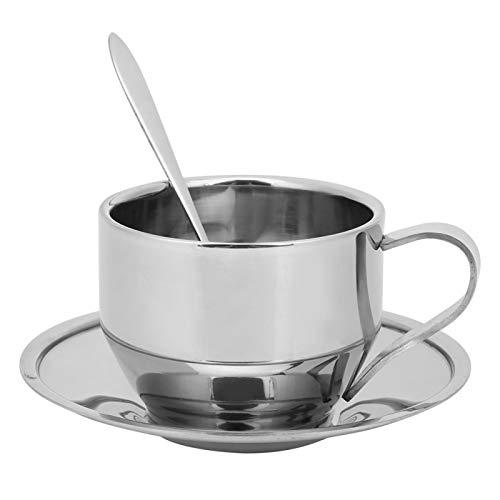 Juego de tazas de café de acero inoxidable, taza de café de doble pared de 4 oz con plato y cuchara, taza de café capuchino con leche y té expreso