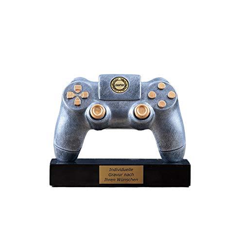 Pokal Gaming Controller mit Gravur - Geschenke für Männer Frauen Kinder - Award individuell und personalisierte Geschenkidee für den Gamer - Games Tisch Deko mit Emblem Champion