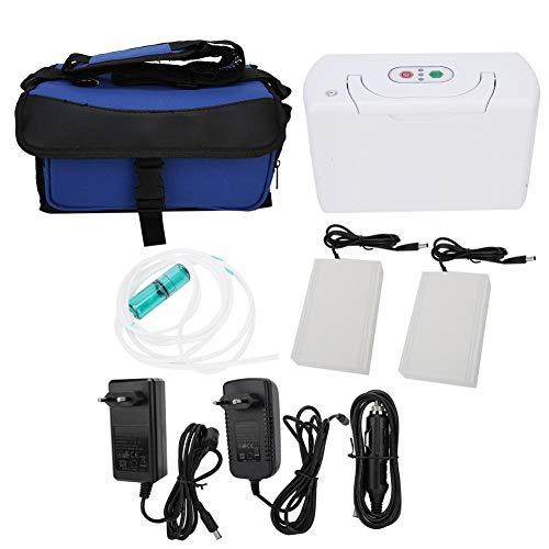 Fishlor Concentrador de oxígeno 3L, generador de oxígeno ABS con 2 baterías, generador portátil de oxígeno para el hogar Habitaciones itinerantes para Autos purifica el Aire(UE 220V)