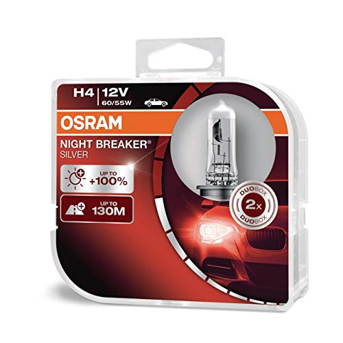 Osram Night Breaker Silver H4, +100{07e2e2bcb3bbefadc8929fc48699612209254cfb6c5954bccb1a397bc1a863ce} mehr Helligkeit, Halogen-Scheinwerferlampe, 64193NBS-HCB, 12V Pkw, Duo Box (2 Lampen)