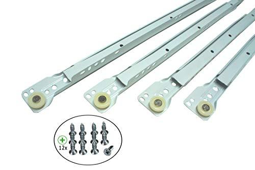 1 Paar Schubladenschienen 21-mm Schubladenauszug 25-60 cm Rollenführung Schienen Teilauszug WEIß (30 cm)