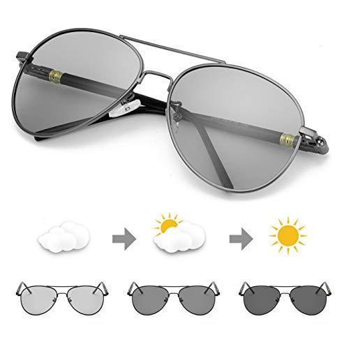 TJUTR Polarisierte Sonnenbrille Herren Photochromatisch Sports für100% UVA UVB Schutz Metallrahmen Leicht (Grau(Klassisch)/Grau)