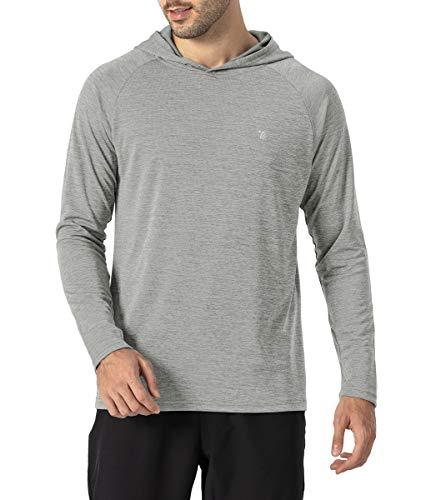 donhobo Camiseta de running para hombre, transpirable, con capucha, manga larga, elástica, para gimnasio, running gris plateado L