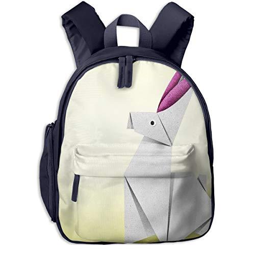 Bolsa La Escuela Mochila con Conejo De Origami Conejo con Orejas Rosadas para Impermeable Mochilas para Niños Niñas