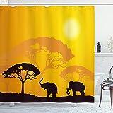 ABAKUHAUS Safari Duschvorhang, Afrika abstrakte Wildtiere, mit 12 Ringe Set Wasserdicht Stielvoll Modern Farbfest & Schimmel Resistent, 175x180 cm, Braun Gelb Dunkelbraun Ringelblume