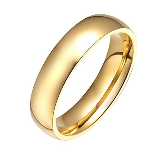 HIJONES Jewellery Womens Stainless Steel 18k Gold Plated Wedding Ring Size K
