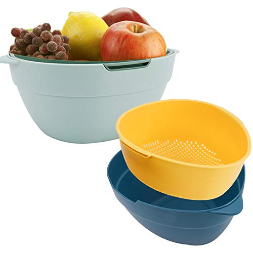 HOMOKUS 2 Pack Vegetable Fruits Strainer Colander Washing Bowl Sets, Multifunctional Washing Bowl and Strainer, Double Layered Colanders Set, Color (Green, Yellow, Blue)