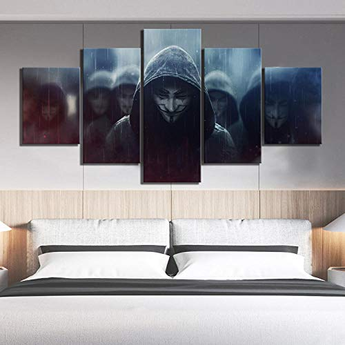WHOOPS 5 piezas Hd Fantasy Art V Picture V Word Vendetta Movie Poster Painting Abstract Wall Decoration Painting Bedroom Decoration 30 * 40 * 2 30 * 60 * 2 30 * 80Cm sin marco