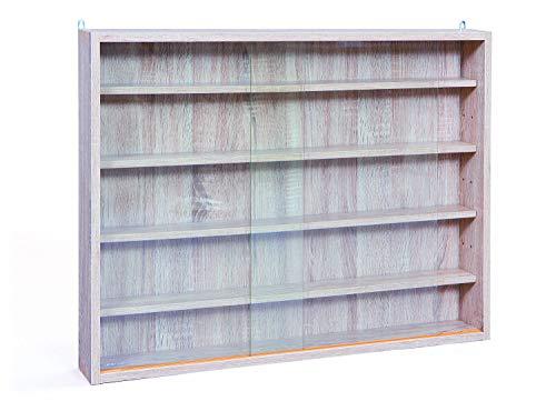 Inter Link Simply Vitrina de madera MDF y vidrio, Beige, 80 x 9.5 x 60 cm