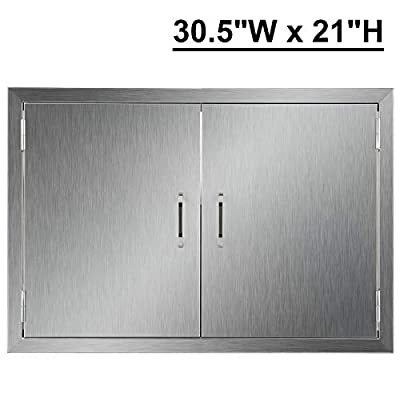 """CO-Z Outdoor Kitchen Doors, 304 Brushed Stainless Steel Double BBQ Access Doors for Outdoor Kitchen, Commercial BBQ Island, Grilling Station, Outside Cabinet, Barbeque Grill, Built-in (30.5""""W x 21""""H)"""
