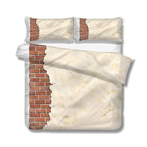 jonycm beddengoed dekbedovertrek set geel en bruin baksteen muur pleister familie decoratieve 3 stuk beddengoed set rits met 2 kussensloop bedrukt dekbedovertrek sets gezellig