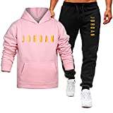 Aisigeren Chándal para hombre con capucha Jo-Rd-An, traje de ocio impreso pantalones deportivos, traje de jogging + pantalones, conjuntos de deportes, rosa, XL/X~Grande