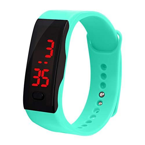 Verlike Kinder Silikon-Armbanduhr, LED-Display, elektronisch, digitales Sportarmband, mintgrün