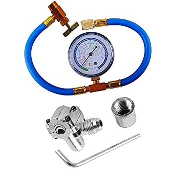 R134a Refrigerant Charging Hose with Piercing Valve Can Tap with Gauge R134a can to R-12/R-22 port