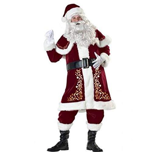 SUMTTER Weihnachtsmann Kostüm Damen Herren Weihnachten Kleidung Santa Set Tops + Hosen + Umhang + Gürtel + Überschuhe + Handschuhe + Bärte + Mütze Sale