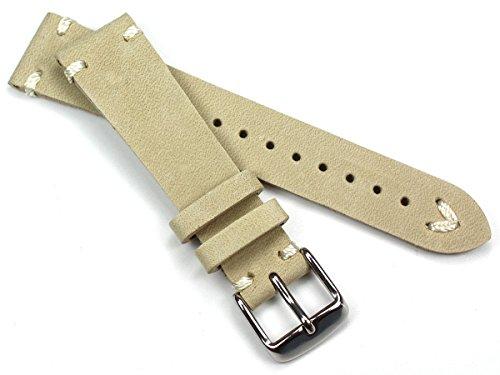Sulla 20mm Herren Leder Vintage Look Uhrenarmband Sand weiße Naht Retro 20/16mm BS