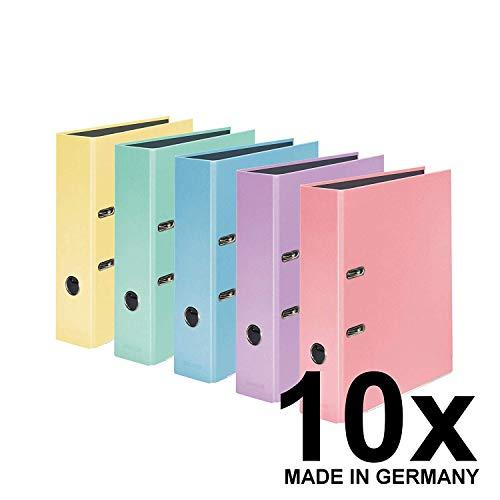Original Falken 10er Pack PastellColor-Ordner. Made in Germany. 8 cm breit DIN A4 Pastell-Farbe farbig sortiert Ringordner Aktenordner Briefordner Büroordner Plastikordner Motivordner