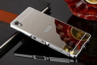 كفر اكسبيريا زد5 بريميوم , Xperia Z5 Premium , قطعتين , إطار وغطاء خلفي , فضي مرايا