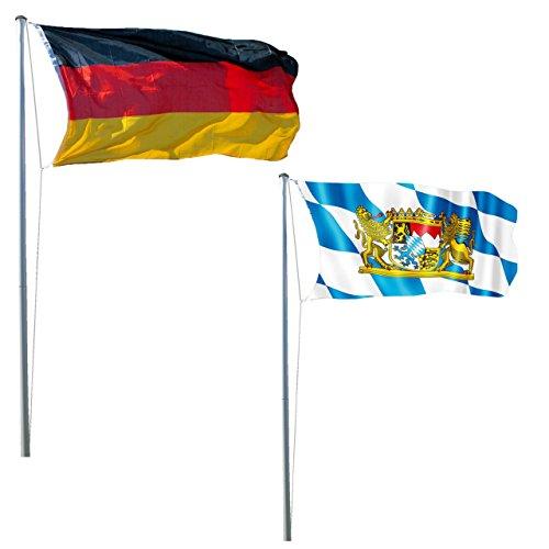 Unbekannt LEX Fahnenmast 620 cm | Inkl. Deutschland- und Bayern-Fahne 150 x 90 cm | Inkl. Bodenhülse