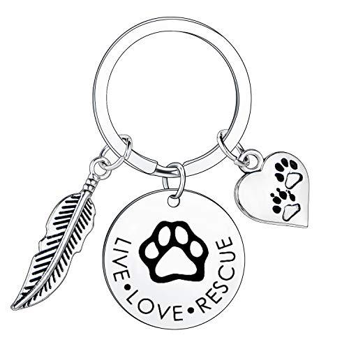 BESPMOSP Live Love Rescue Schlüsselanhänger Pfotenabdruck-Schlüsselanhänger für Hunde- oder Katzenbesitzer Hund Katze Liebhaber Schlüsselanhänger Gr. One size, Live Love Rescue