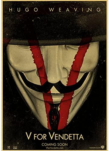 JIACHAO Póster De Lienzo Duradero Película De Suspenso De Ciencia Ficción Estadounidense V para Vendetta Póster De Estilo Retro Pintura De Lienzo Decor50 * 70 Cm Prueba De Agua