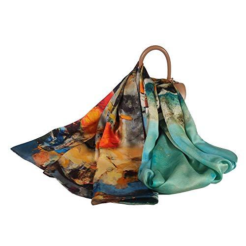 FELOVE 100% Seda Mujer Bufandas Patrón de flores de Morera Pañuelo Seda Grande Chal Wraps Estolas para Mujeres