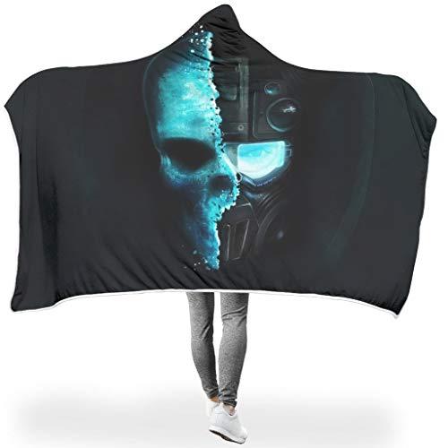 NC83 Fledermuisdeken Skulls Robot Design bedrukt Sherpa Comfortabele Robe Hoody - Uitstekend geschikt voor gebruik in de winter