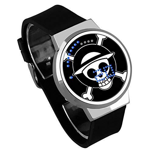 Relojes Hombre,Pantalla Táctil Led Reloj One Piece Anime Rodeando Cinta Luminosa Resistente Al Agua Reloj Electrónico Regalo De Cumpleaños Creativo B