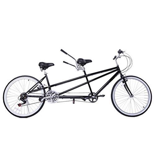 TWW Bicicleta 26 Pulgadas Bicicleta para Padres E Hijos Ocio Bicicleta para Varias Personas Bicicleta De Velocidad Variable Pareja Bicicleta De Viaje En Tándem,Negro