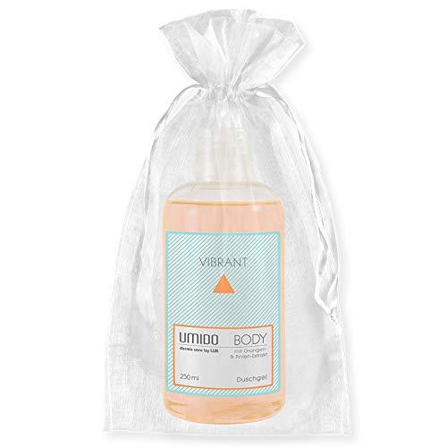 UMIDO Beautyset | 1x Duschgel 250 ml Orangen-Extrakt & Pinien-Extrakt | OHNE Silikone & Parabene | 1x Organza-Säckchen | Pflegedusche (6-BYS) (7-WHT)