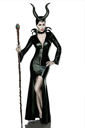 Damen Teufel Kostüm Verkleidung aus Kleid, Halsband, Hörnermaske Teufelin in schwarz L