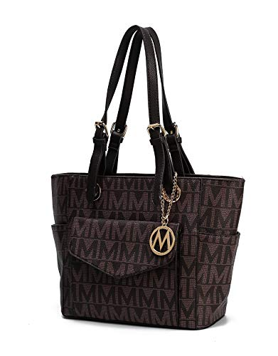 Mia K Collection Shoulder Handbag for Women: Vegan Leather Satchel-Tote Bag, Top-Handle Purse, Ladies Pocketbook Chocolate