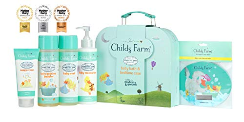 Childs Farm Baby Gifting Suitcase Containing Baby Wash, Bubble Bath, Moisturiser, Nappy Cream and Bath Thermometer