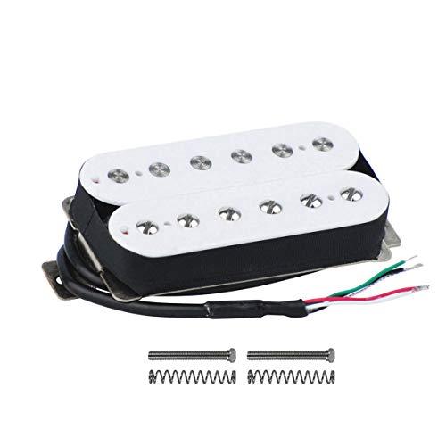 FLEOR Pastilla Humbucker de doble bobina Pastilla de puente de guitarra 52 mm Alnico 5 Imán 14-15k para piezas de guitarra eléctrica Humbucker, Blanco