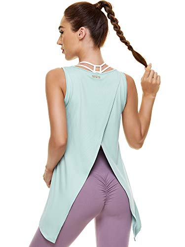 COOTRY Back Split Workout Tank Tops for Women Tie Back Flowy Tunic Athletic Yoga Tee Shirts Sleeveless Open Back Gym Sport Clothes Mint Green Large