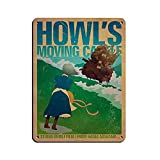 Póster vintage de película de anime japonesa de Howl's Moving Castle 10 letrero de lata vintage de metal Pub Club Cafe bar Home Wall Art Decoración Poster Retro 30 x 40 cm