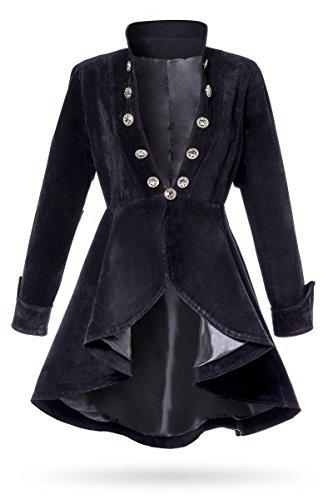 Unbekannt Schwarze Kurze Damen Gehrock Jacke mit Langen Ärmeln und Stehkragen Metallknöpfen vorn Samt-Stoff S