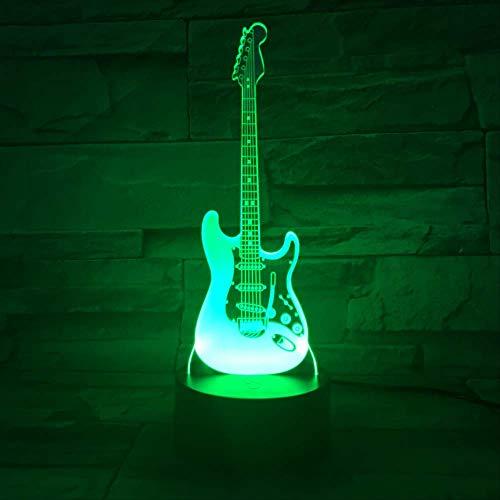 LWJZQT nachtlampje Musical Bass 3D LED Night Holiday cadeau verjaardag 7 kleuren veranderende slaapkamer decoratie nachtlamp voor kinderen tafellamp voor kinderen gitaar