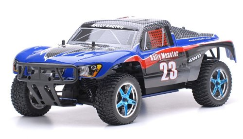 Exceed RC 1/10 2.4Ghz Rally Monster Nitro Gas Powered RTR Off Road Rally Car 4WD Truck Carbon BlueSTARTER KIT Required and Sold Separately