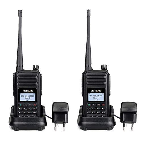 Retevis RT80 DMR Walkie Talkie Digital FM Radio 999 Canales Aficionado Radio Pantalla LCD Inversa 180° Compatible con Mototrbo Tier I&II (Negro, 1 par)