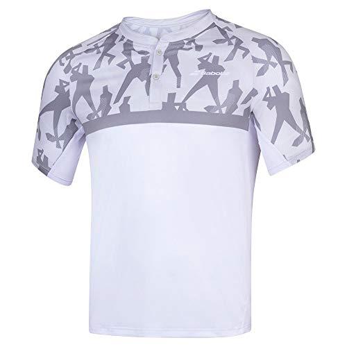 Babolat Compete Polo pour Homme L Blanc/Gris Acier (White/Steel Grey)