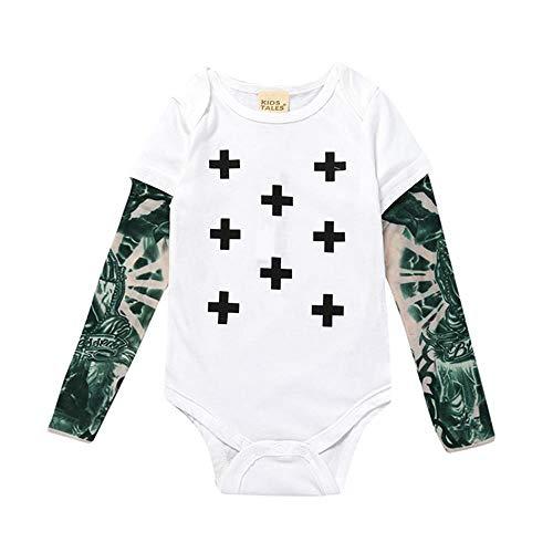 Body de bebé niños niño niño tatuaje de algodón impreso manga larga a prueba de sol mameluco blanco cruz 6-12 meses/80