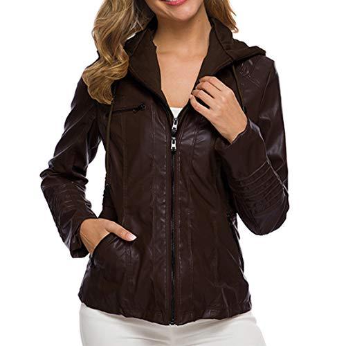 Yczx Womens Faux Leather Jackets Zipper Hoode Jackets Windbreaker Classic Leather Outwears Motocycle Modern Outwear Coats Biker Windproof Autumn Spring Lightweight Jackets 5XL