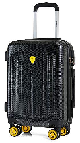 CABIN GO MAX 5610 Valigia Trolley ABS, Carbon Look, bagaglio a mano 55x40x20, Valigia rigida, guscio duro e antigraffio con 8 ruote, effetto carbonio, Ideale a bordo di Ryanair, Alitalia, Air Italy, e