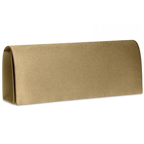 Caspar TA278 Bolso de Mano para Mujer Clutch Largo Satén Brillante, Color:bronce