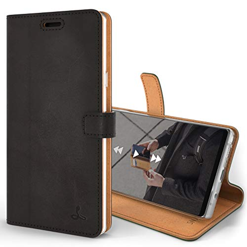 Snakehive Note 9 Handy Schutzhülle/Klapphülle echt Lederhülle mit Standfunktion, Handmade in Europa für Note 9 - (Schwarz)