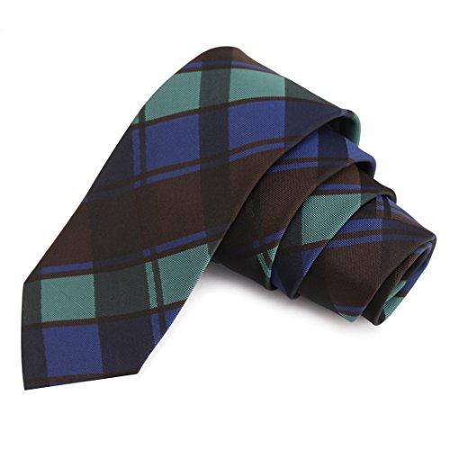 Peluche Cool Green & Black & Blue & Brown Colored Microfiber Necktie for Men