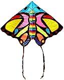 Cometa Infantil Cometas Para Niños Cometa de mariposa colorida con línea de cometa y carrete de cometa, cometa para principiantes fácil de volar para adultos y niños para viaje a la playa: colorid
