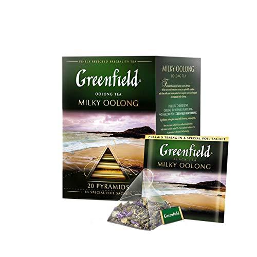 GREENFIELD MILKY OOLONG | Premium Aromatisierter Oolong-Tee mit Malve | Geschenk | Milchiger Geschmack | Milky Taste Tea | 20 Pyramiden | Teebeutel, 36g