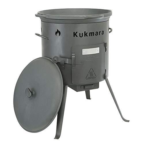 Set Kasan 22 Liter und Ø 50cm aus Gusseisen mit Deckel und Feuerofen, zum Grillen für den Garten